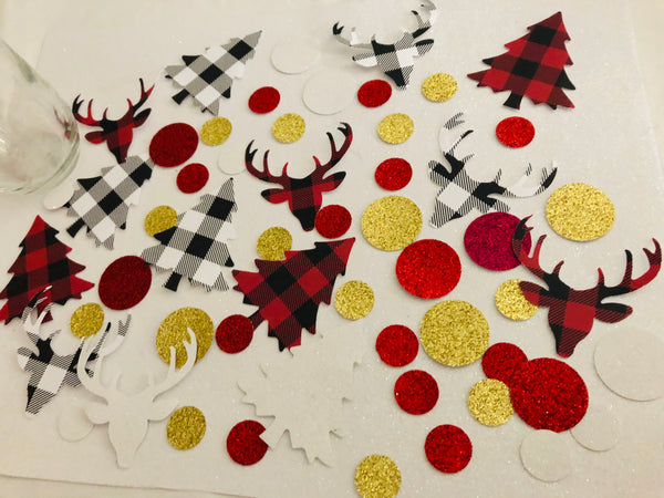 Holiday Table Decor, Buffalo plaid Holiday decor, Christmas Confetti
