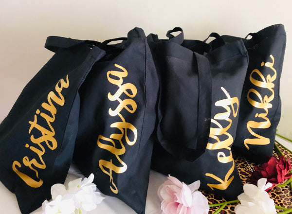Set of Wedding Party Tote Bags