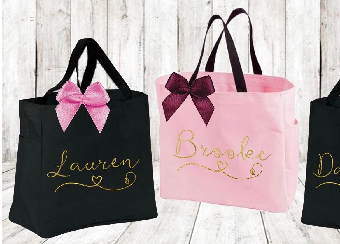 Bridesmaid Tote Bags, Bridal Party Gift Tote Bags