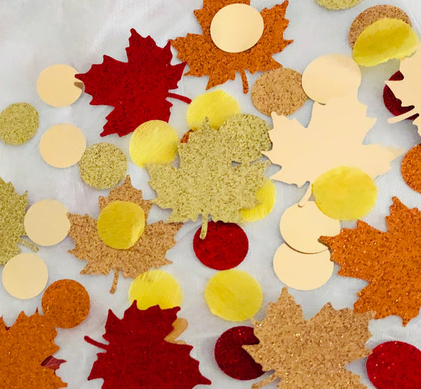 Thanksgiving table decor, Glitter Fall leaves Confetti