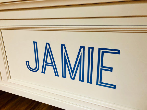 Home Decor Decals, Wood Toy Box, Headboard Decal