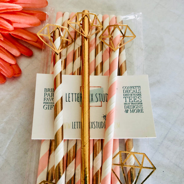 Paper Straws, Rose Gold and Blush  Paper Straws