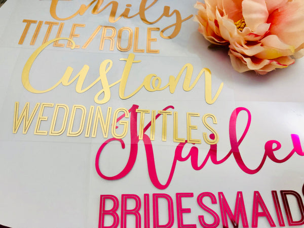 Iron on Lettering, Wedding Title Iron-ons