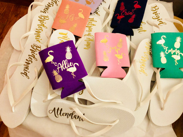 White Personalized Bridesmaid Flip Flop Sets
