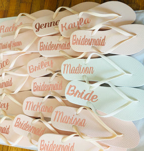 Blush Pink Bridal party flip flops