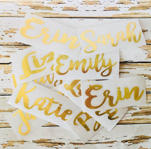 Gold Foil Custom Name Decal, Personalized vinyl decals