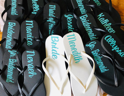 Personalized Black Flip flops