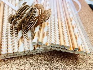 Paper Straws, Rose Gold and White Paper Straws