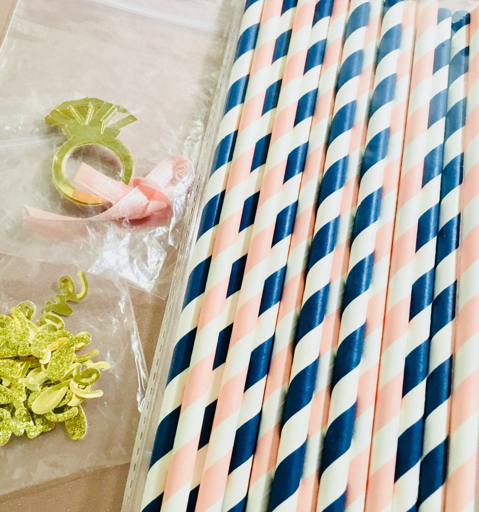 Navy and Blush Paper Straws