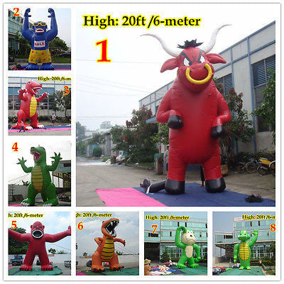 20ft 6M Inflatable Advertising Promotion Giant Monsters Gorilla Buddy Crocodile;No Blower