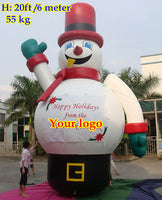20'ft 6M Inflatable Advertising Promotion Giant Christmas Snow man; NO Blower