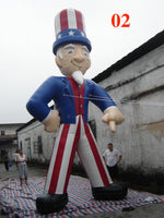 26ft (8M) Giant Inflatable Uncle Sam 02 for Holiday US Memorial Day Promotion; NO Blower