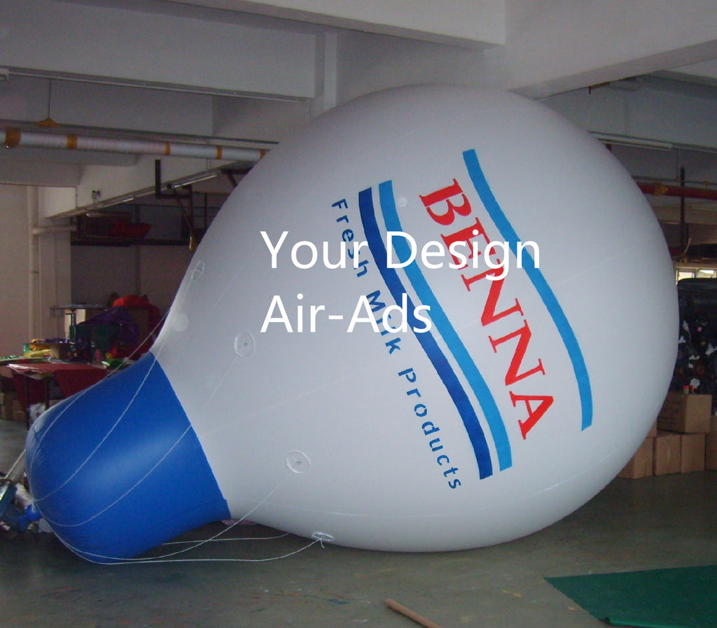 Air-Ads 11.5FT (3.5M) Inflatable Water Drop Shaped Balloon; Advertising Flying Helium Balloon; Free Logo
