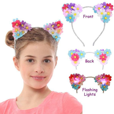 Cat Flower Headbands with Flashing Lights