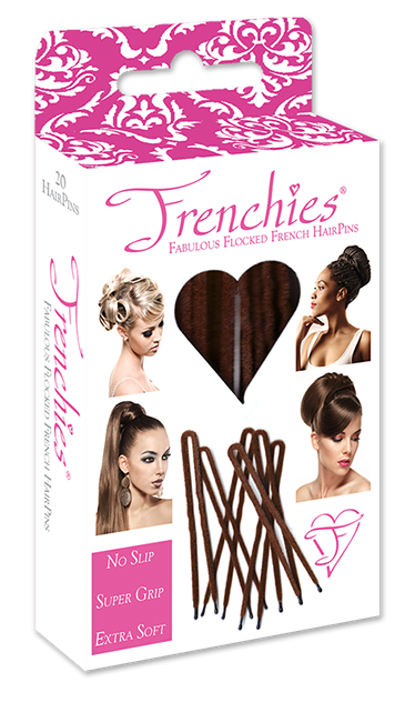 Frenchies Ultra Flocked HairPins Brown