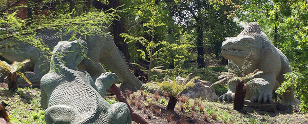A picture of the sculptures in Crystal Palace Dinosaurs