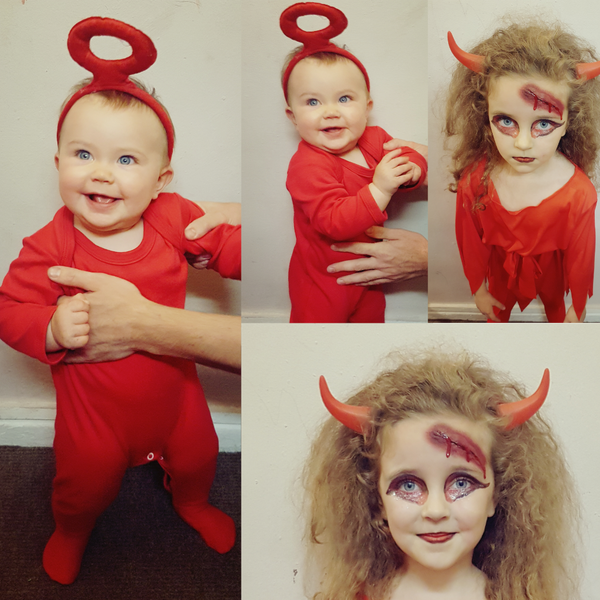 Collage of a baby girl and a kid dressed as red teletubbies