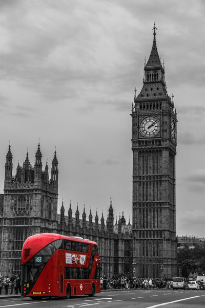 A bus passing the Big Ben in London