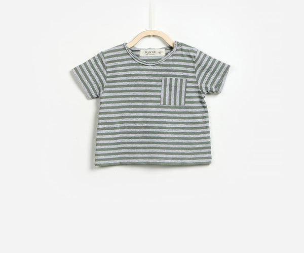 Crewneck front pocket Striped T-shirt, T-shirts - Little Pancakes