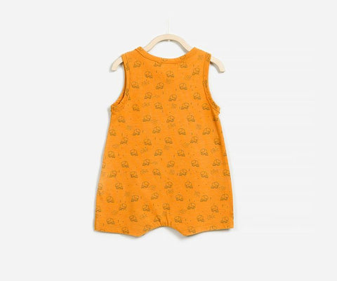 Cute Elephant Family Print Sleeveless Romper, Rompers - Little Pancakes