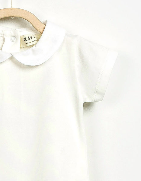 Soft Organic Short Sleeve White Romper, Rompers - Little Pancakes