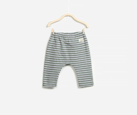 Grey Striped Baby Boy Jersey Trousers, Trousers - Little Pancakes