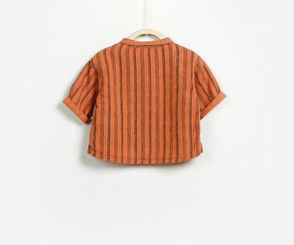 Half Sleeve Striped Shirt, Shirts - Little Pancakes
