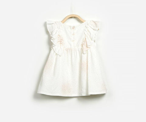 Baby Girl Dotted Frilled Sleeve Woven Dress, Dresses - Little Pancakes