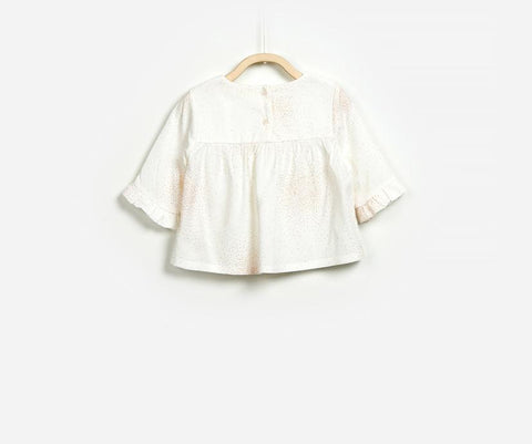 Gold & Orange Sprinkled Blouse, Blouses - Little Pancakes