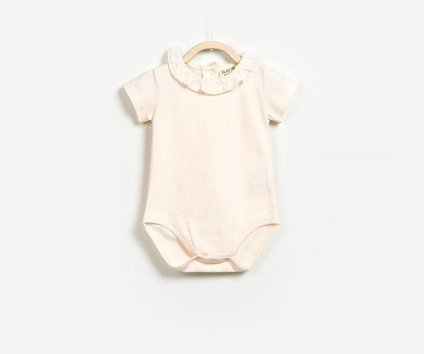Rose Shadow Organic Short Sleeve Romper, Rompers - Little Pancakes