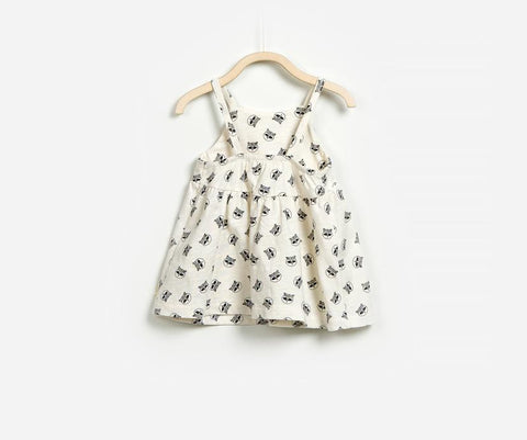 Cartoon Cat Print Baby Girl Dress, Dresses - Little Pancakes