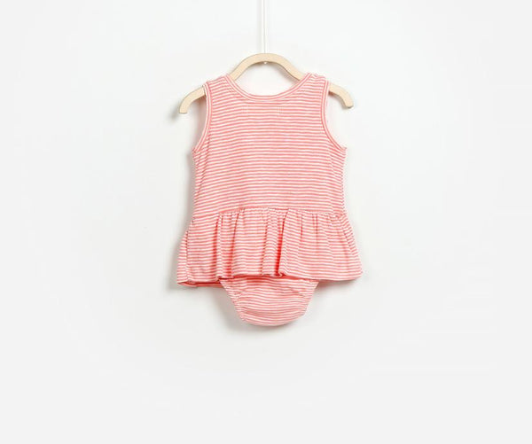 Sleeveless Pink Ribbed Dress, Dresses - Little Pancakes
