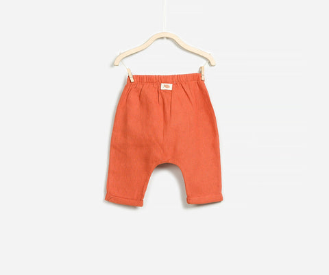 Terracotta Woven Trousers, Trousers - Little Pancakes