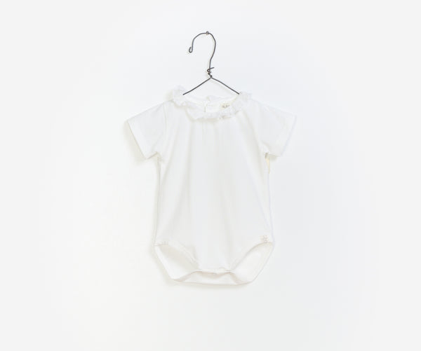 White Organic Short Sleeve Romper, Rompers - Little Pancakes