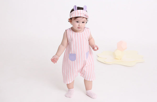 Cotton Striped Keno Romper, Romper - Little Pancakes