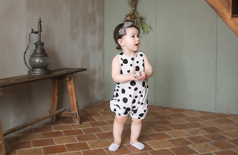 Linen Blended Dots Romper, Rompers - Little Pancakes