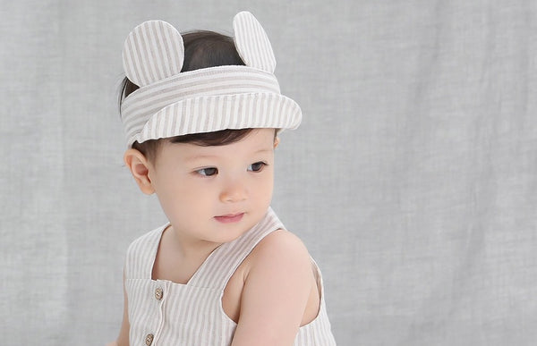 Linen Striped Jerome Sun Cap, Accessories - Little Pancakes