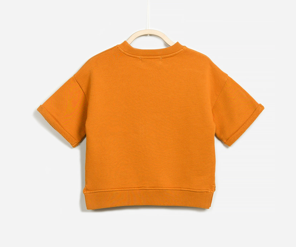 The back of round neck orange jumper with be a little wild everyday front print made from cotton