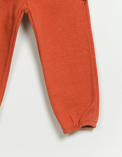 Peach Orange Fleece Trousers, Trousers - Little Pancakes
