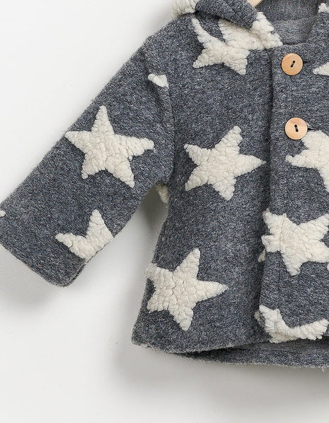 Star Patched Fur Jacket, Jackets - Little Pancakes