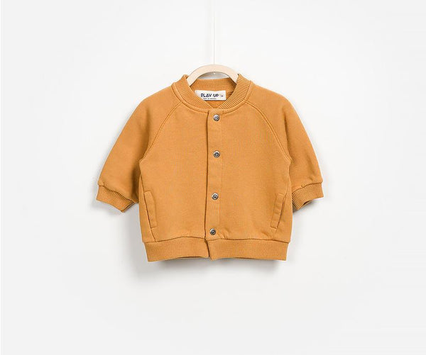 Baby Boy Cotton Bomber Jacket In Bright Orange Tone Front