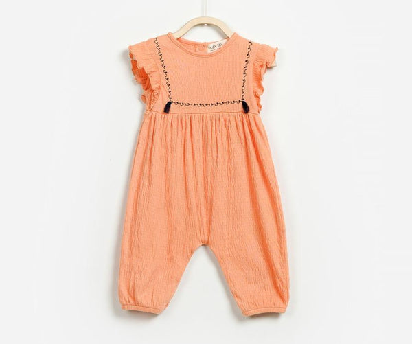 Peach Short Sleeve Comfortable Baby Girl Romper, Rompers - Little Pancakes