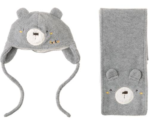 Baby Bear Grey Hat and Scarf Set, Accessories - Little Pancakes