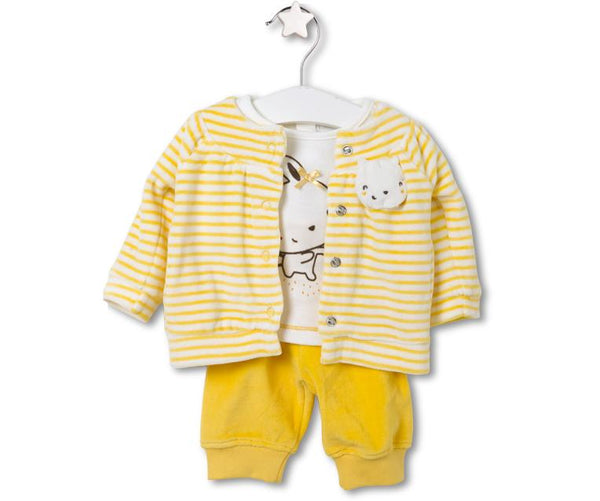 Little Rabbit Three-Piece Set For Baby Girls, Sets - Little Pancakes