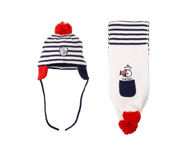 Marine Knitted Hat and Scarf Set, Accessories - Little Pancakes