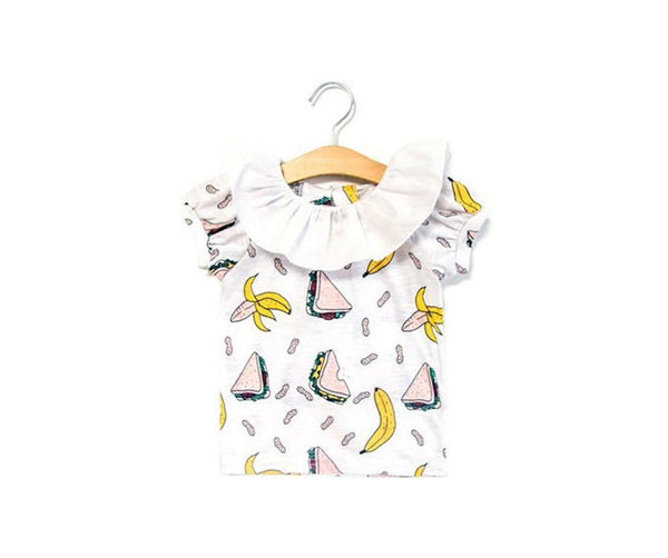 Frill Neck Banana T-Shirt, T-Shirts - Little Pancakes