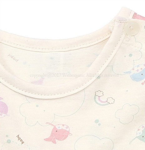 Dreaming Whales Short Sleeve Baby Bodysuit, Bodysuits - Little Pancakes
