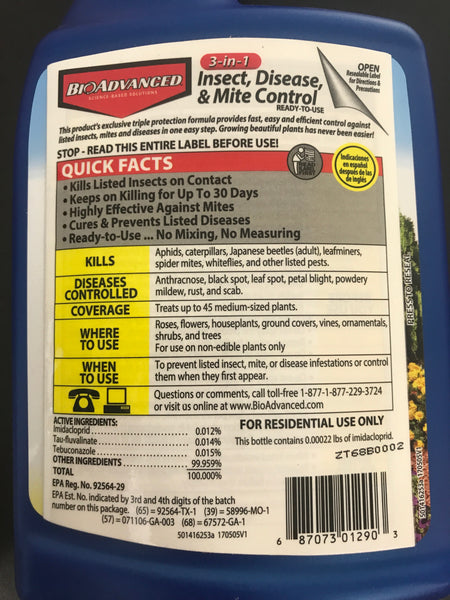 Bayer Insecticide Fungicide Miticide 3-in-1 Insect, Disease & Mite Control, 24 oz, Ready-to-Use