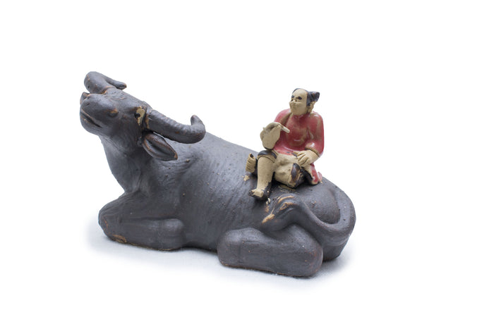 Water Buffalo and Girl, Partially Glazed
