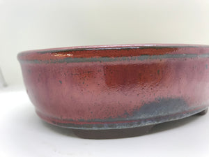 "6"", 8"", 10"" Glazed Ceramic Bonsai Pot (Fire Brick Red)"